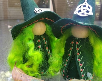 Large Celtic Green-haired Witch Peg Doll, Waldorf Wooden Peg Doll, Handmade Miniature