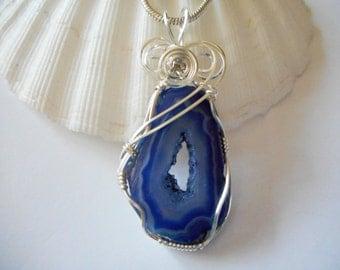 Geode Jewelry, Druzy Jewelry, Wire Wrapped Pendant, Blue Druzy Agate, Handmade Jewelry.