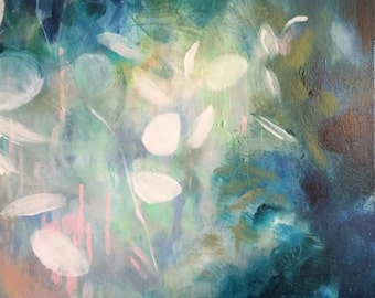 "Modern Art Print-- Archival Print of Original Painting-- ""White Eucalyptus Surrounded in Blue"""