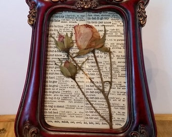 Rosy Dictionary Page Pressed Flower Art