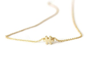 Puzzle Necklace - Dainty charm necklace - Tiny puzzle charm - Minimalist Necklace