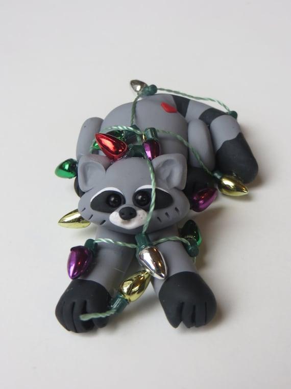 Raccoon christmas ornament polymer clay handmade