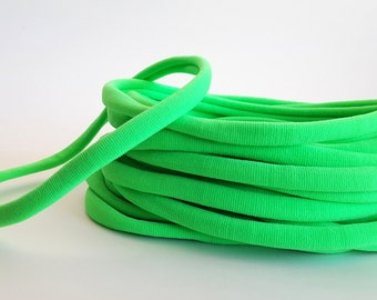 Set of 5 / WHOLESALE Neon Green Nylon Headbands / One Size Fits Most