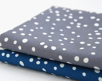 Polka Dots Cotton Fabric - Gray or Blue - By the Yard 94383