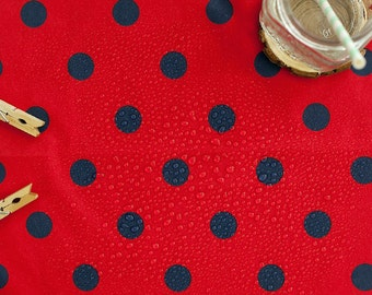 Waterproof Fabric 2.2 cm Navy Dots on Red - By the Yard 89614