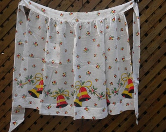 Vintage 60s Christmas Apron Jingle Bells Lightweight Semi Sheer Cotton Half Apron