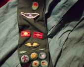 Vintage Girl Scout sash with patches, Americana, collectable, scouting some patches need application