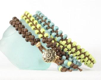 Braided wrap bracelet, Boho bracelet, Aqua, lime green, brown seed beads, Gold button, CarolMade Bw12