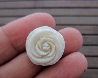 Beautiful Hand carved  Rose cabochon , Flat  back, Jewelry making Supplies B6108