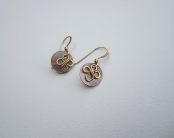 Gold Filled Bloom Wire Earrings with Mother of Pearl