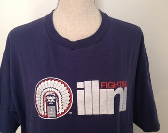 SALE-Vintage Fighting Illini ILLINOIS 80s Tshirt