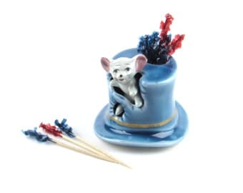 Mouse in in Holey Blue Hat Toothpick Holder