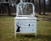 White Antique Bird and Tree Dresser