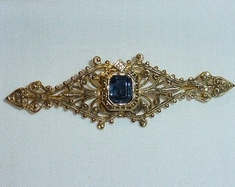 Vintage  Ornate Bar Pin or Brooch with Blue Stone