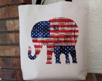 Americana Elephant Large Grocery Bag Tote Canvas Flag