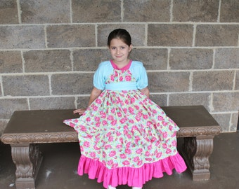Girls Birthday Dress - Ruffle Dress - Spring Dress - Floral Pink Yellow Dress - Special Occasion Dress - Girls Peasant Dress - Summer Dress