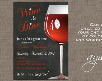 Wine Birthday Party Invitation Printable Invitation Elegant 30th Birthday 40th Birthday 50th Birthday Party Invitation Wine Invitation Woman