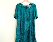 Vintage Crushed Velvet Babydoll Dress // Emerald Green Dress // 90s // Grunge