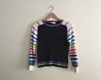 Vintage Rainbow Sleeve Pullover // Fitted Long Sleeve Baby Tee // Hipster // 1990s