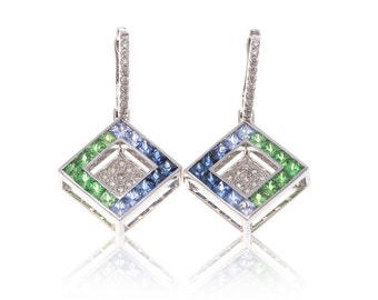 Multicolor Blue Sapphire, Tsavorite Green Garnet & Diamond 18K Gold Earrings (4.24ct tw) SKU: 8635