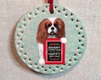 Cavalier King Charles Spaniel ornament, Blenheim cavalier ornament, Blenheim CKCS ornament, Cavalier KC Spaniel Christmas ornament