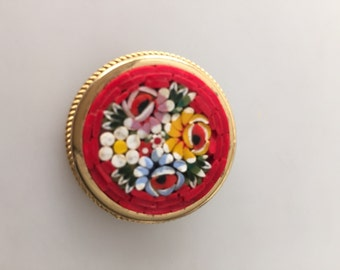 1950s/60s Vintage Italian MOSAIC Brooch Pin Gold Plated Metal Red Background