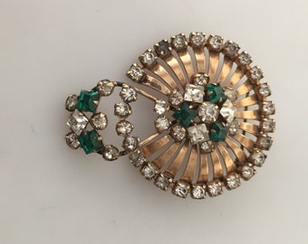 1940s Vintage, Gold Filled BROOCH, Signed Pin, PHYLLIS GF Pin Retro Brooch Faux Emeralds Clear Rhinestones Movable Dangle Also a Pendant
