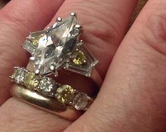 Vintage CZ Marquis Engagement Ring Set