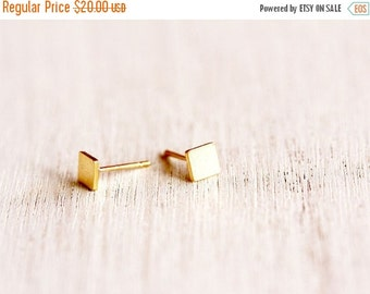 Summer Sale gold post earrings, tiny gold stud earrings- 24 K gold plated square studs