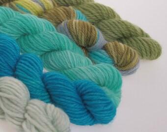 Wool Yarn NEW - Mini Skeins Collection - 'WALKIN' BLUES'