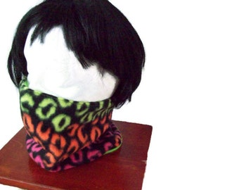 Neon Leopard print - Neon Green - Animal print - Neck warmer - Cowl - Gaitor - Tube scarf - Reversible - Fleece -  child size to preteen