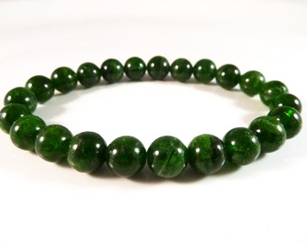 Chrome Diopside Stretch Bracelet 8mm Smooth Round Tumbled Bright Green Bead Gemstones