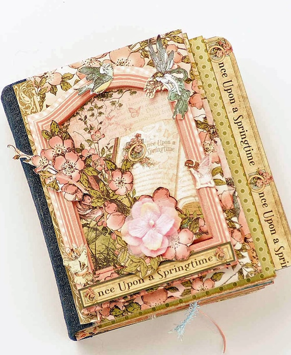 Scrapbook Album for Photos - Graphic 45 Papers, Once Upon a Springtime, Interactive, Handmade