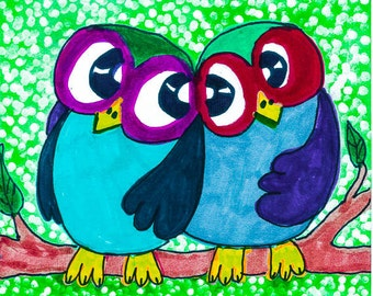 Owl Art, Funny Owl Print, Childrens Room Decor, Green And Blue, Owl Decor, Kids Wall Art, Owl Print,  Me And You by Paula DiLeo_41214