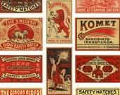 30+ VINTAGE MATCHBOX LABELS - Ruby Red Hot - Instant Printable Digital Collage Sheet