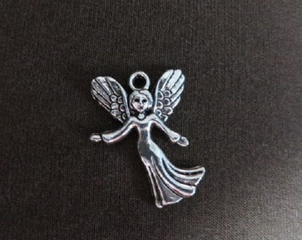 8 Fairy Godmother or Angel Charms Pendants Antique Silver Tone Fairies Lovely Fairy Tale Guardian Angels Charm Pendant Jewelry 19x24 mm