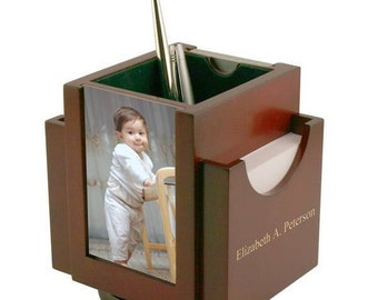 Engraved Revolving Wooden Desktop Caddy with Photo Frame
