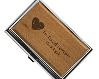 Engraved Cardiologist Wooden Business Card Case