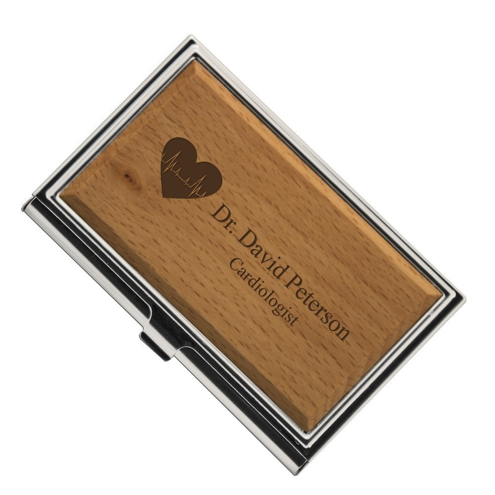 Engraved cardiologist wooden business card case for Wooden business card case