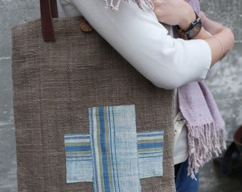 Handmade  book bag/purse with handwoven cotton fabric #4