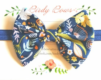 Navy Floral Bow Headband, Baby Headbands, Baby Girl Headbands, Baby Girl Headbands, Infant Headbands, Baby Bows
