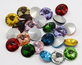 6pc 14mm Mix Color Glass Pointed Back Rhinestone-7623J