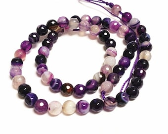 14 Inch Strand 6mm facted Natural Amethyst Beads-9313R