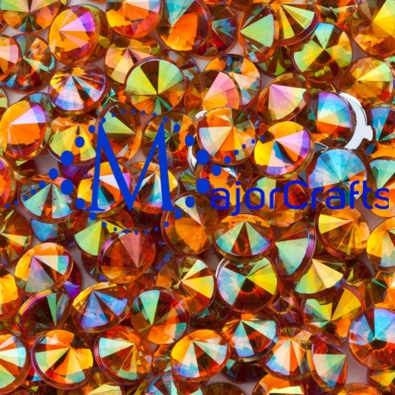 Orange AB Flat Back Pointed Rivoli Acrylic Rhinestones Embellishment Gems - C13