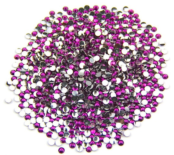 Amethyst Purple Flat Back Round Resin Rhinestones Embellishment Gems C42