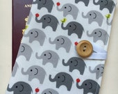 Passport cover case cute mini elephant grey fabric wooden button elephant inner pockets