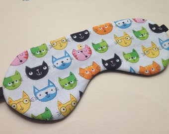 Sleep mask / travel sleep mask / eye mask / night mask cute cat fabric