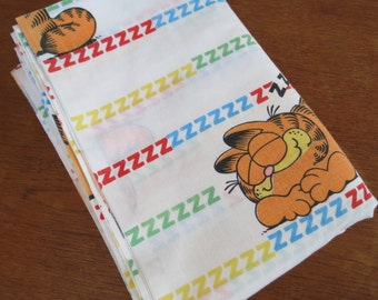Sleeping Garfield the Cat - Vintage Childrens Sheet - Twin or Single Flat Sheet