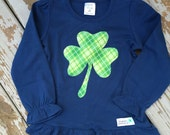 Limited Edition St. Patrick's Day Shamrock Girl's Ruffle Shirt For Baby, Toddler, Youth