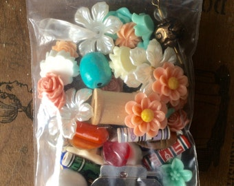 60 PIECE GRAB BAG charms cabochons  beads free shipping